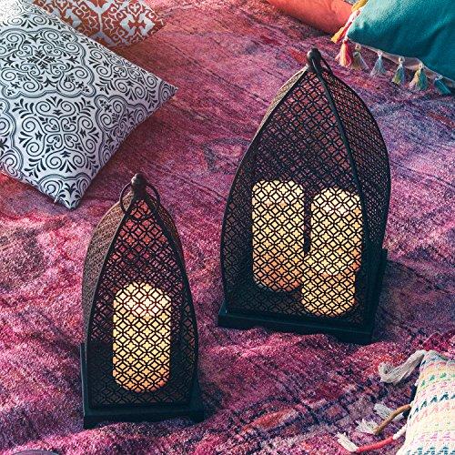 Marokkanische Laternen Set (Lights4fun 2er Set Marokkanische Laternen schwarz mit LED Kerzen)