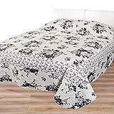 Tagesdecke Bettüberwurf Charme für Doppelbett, Schlafzimmer Wendebezug grau weiß mit Rosen-Motiv, 220x240 cm