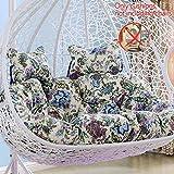 BLSTY Doppio Cotone Lino Hanging Egg Chair Amaca Cuscino Sedia, Estraibile e Lavabile Poltrona Pensile Cuscino Nido d'uccello Swing Cesto Cuscini Schiena Senza Staffa-C-Taglia Unica