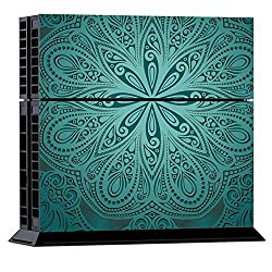 Generic Ethnic Flower Pattern Protective Skin Sticker Cover Skin Sticker for PS4 Game Console