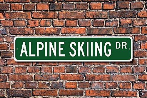 Metall Stree Ski Alpin Geschenk Schild Alpine Skifahren Lover Downhill Aluminium Wand Poster Yard Zaun Schild -