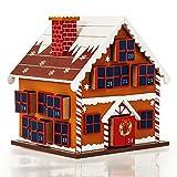 Deuba Adventskalender zum befüllen | 1-24 Dezember 2018 | Lebkuchen Haus aus bemaltem Holz | wiederverwendbar| Für Kinder Erwachsene Jungen und Mädchen | Weihnachten Kalender