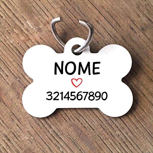Medaille personalisiert Hund Form von Knochen Name Telefon weiß Herz rot