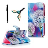 J5 Flip Wallet Case (2015 Version), Lanveni Luxury Dureable PU Leather Notebook Flip Folio Cover Colorful Painting Taraxacum Desgin & Card Slots & Built Stand & Magnetic Closure Case For Samsung Galaxy J5 2015 + 1x Stylus Pen + 1x Dust Plug ( Not for 2016 Version )
