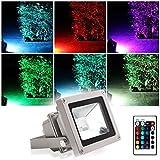 Blinngo Projecteur LED Extérieur RGB/RVB 10W Etanche IP65 Prise EU Couleur Changeant avec Télécommande pour Jardin,Scène de Paysage,de l'Eclairage Spot,Hôtels