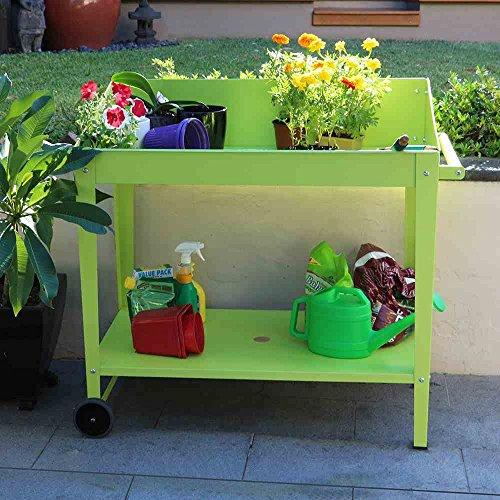 Siena Garden Pflanztisch, mit Rollen & Griff, Stahl, grün, 100x55x101cm, B76295