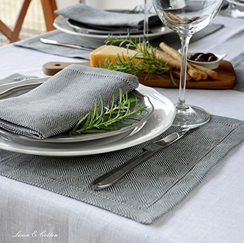 Linen & Cotton Luxury Hemstitched Set of 2 Linen Placemats Table Mats Cloth/Fabric SCANDI for Kitchen and Dining Table - 100% Linen, 44 x 30cm (16