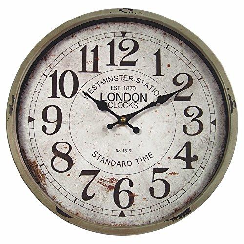 perla pd design Metall Wanduhr mit Glasscheibe Vintage Design London Farbe schlamm lackiert ca. Ø 30 cm