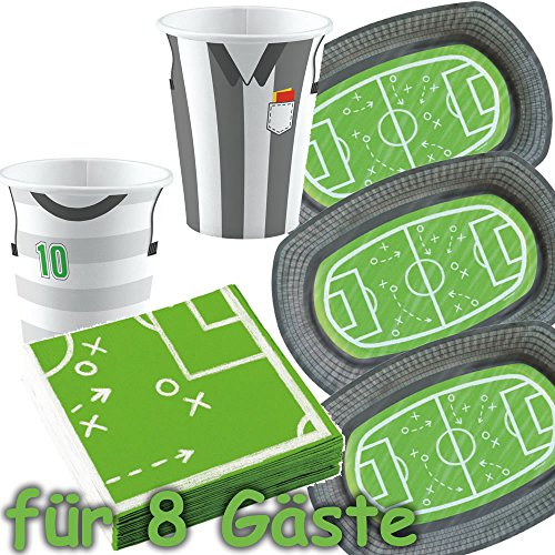35 Set Party * Stade de football * pour fêtes ou les anniversaires d'enfants//de Wm 2018 avec assiette + Gobelet + Serviettes +/décoratif/enfants anniversaire ballons