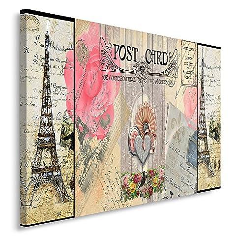 Feeby Frames, Single Panel Canvas, Wall Art Picture, Canvas Picture, Decorative Picture, 60x80 cm, VINTAGE, POSTCARD, PARIS, HEART, EIFFEL TOWER, FLOWERS, PINK,