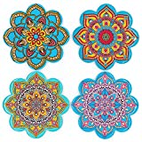 BOHORIA® Premium Design Keramik Untersetzer (4er Set) – Dekorative Untersetzer für Glas, Tassen, Vasen, Kerzen auf ihrem Esstisch aus Holz, Glas oder Stein (Mandalaform | 10.8cm)