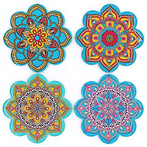 BOHORIA® Premium Design Keramik Untersetzer (4er Set) - Dekorative Untersetzer für Glas, Tassen, Vasen, Kerzen auf ihrem Esstisch aus Holz, Glas oder Stein (Mandalaform | 10.8cm)