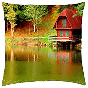 Lake cottage - Throw Pillow Cover Case (18