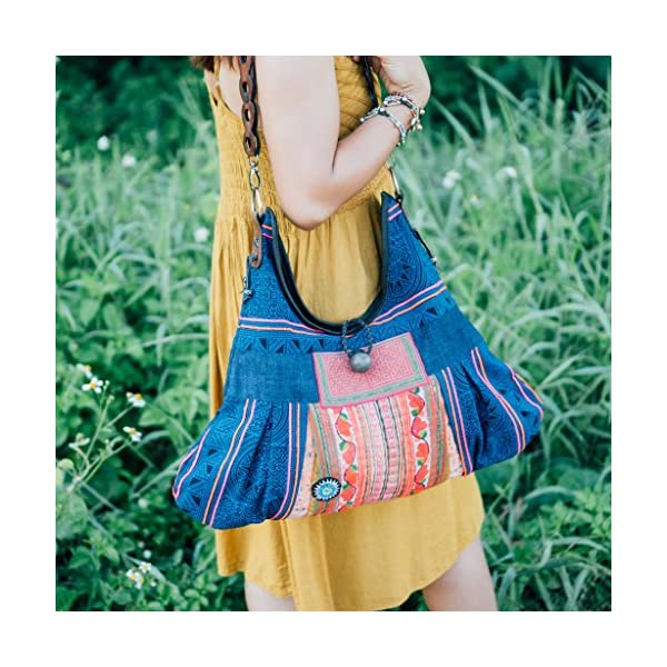 Changnoi Unique Tote Bag for Women with Vintage Hmong Embroidered, Fair Trade Hill Tribe Batik Bag, Bell Decoration, Leather Strap - handmade-bags