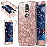 Coque Motorola Moto G4 Plus,ikasus Intégral 360 Degres avant + arrière Full Body Protection Bling Brillant Glitter Transparent Silicone Gel Case Coque Housse Etui pour Motorola Moto G4 Plus,Or rose