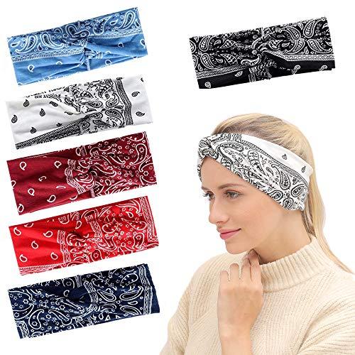 3c0d6494a967f8 Aissy Damen Stirnbänder,6 Stück Soft Elastische Boho Blume Muster Gedruckt  Verdreht Baumwolle Kopfband Haarband für Damen
