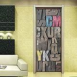 Xilografía Vintage Creativa Carta Sticker Decoración Puerta Pegatinas de Pared,95 * 215cm