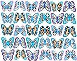30x essbare Kuchendekoration aus Reispapier im Frozen-Design, Anna, Elsa und Olaf, in Schmetterlingsform, nicht geschnitten