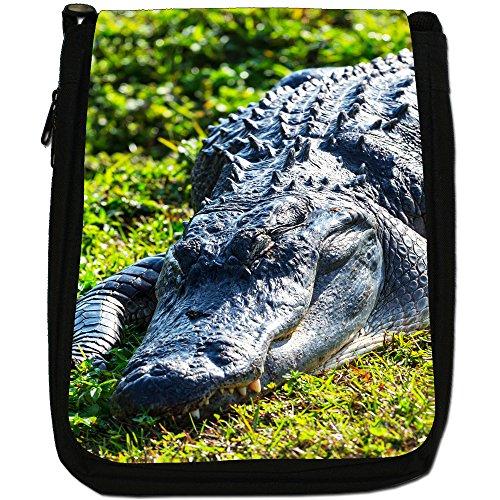 Coccodrilli & Alligatori-Borsa a tracolla in tela, colore: nero, taglia: M Nero (Alligator Lying On Grass)