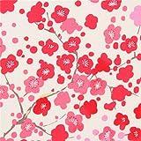 Cremefarbener Kreppstoff mit Pflaumenblüten