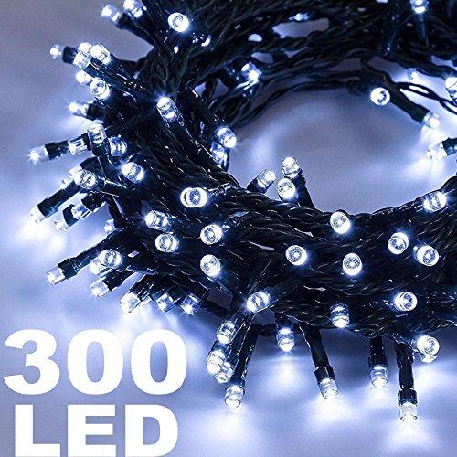 TradeShopTraesio® - CATENA LUMINOSA 300 LUCI LED LUCCIOLE BIANCO FREDDO CONTROLLER 8FUNZIONI INTERNO