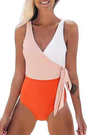 CUPSHE Costume da Bagno da Donna Color Block con Fiocco