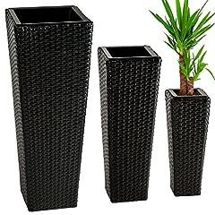 Idea Regalo - TecTake Set di 3 vasi in polyrattan con inserto - disponibile in diversi colori - (Nero | no. 401642)