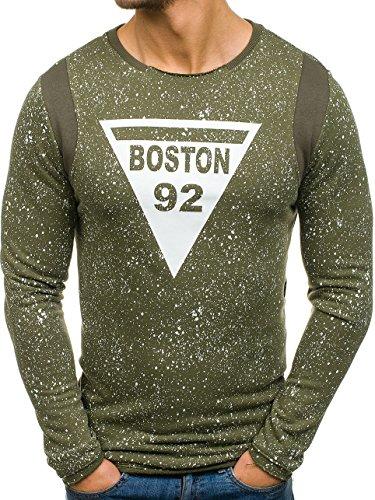 BOLF Herren Sweatshirt Lang ohne Kapuze mit Motiv Sportlicher Stil Breezy 9101 Grün S [1A1] |