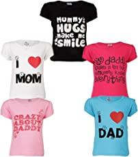 Goodway Girls Pack of 5 Mom and Dad Theme Printed T-Shirts(JG5PCKM&D-1_Multicolor)