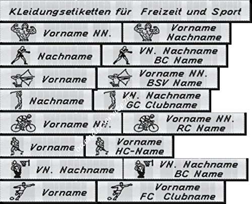 Kleidungssetiketten Etiketten für Freizeit und Sport, 10mm hoch in Schwarz mit Ihrem Namen und Motiv nach Wahl gewebt zum Einnähen 50 Stück