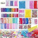 60 farbige Schleimkugeln, 12 Farben, Styropor-Kugeln, Granulat, flache Perlen, Goldpulver, Zuckerpapier, weiche Töpferei, für Kinder, handgefertigte Schleimherstellung