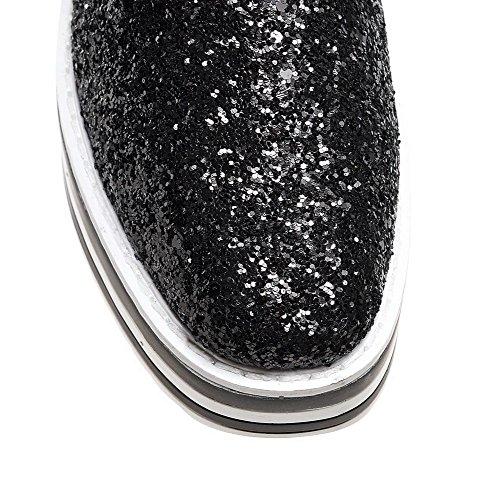 AgooLar Femme Couleur Unie Matière Souple à Talon Correct Tire Carré Chaussures Légeres Noir
