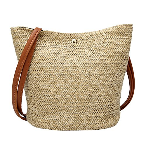 Fashion Women Handtasche Schultertasche Shopper Taschen Umhängetasche,Mode Vielseitig Reisen Casua Outdoorl Shoulder Bag Straw Bags Woven Bucket Bag Strand Handbag -