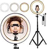 BRAND SUN Tiktok Videos, Desktop 12 inch Camera LED Ring Light with Tripod Stand and Double Phone Holders Compatible…