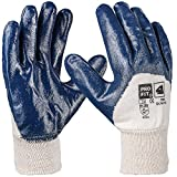 Pro FIT 12 Paar - Basic Nitril-Handschuh, blau, 3/4 Beschichtet, Strickbund 10