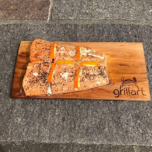 61%2BJ3tsymYL - 6 Pack XL Grillbretter - Zedernholzbrett zum Grillen - Räucherbretter aus Zedernholz von grillart® hergestellt aus 100% natürlichem Western Red Zedernholz für einen besonderen Grillgeschmack