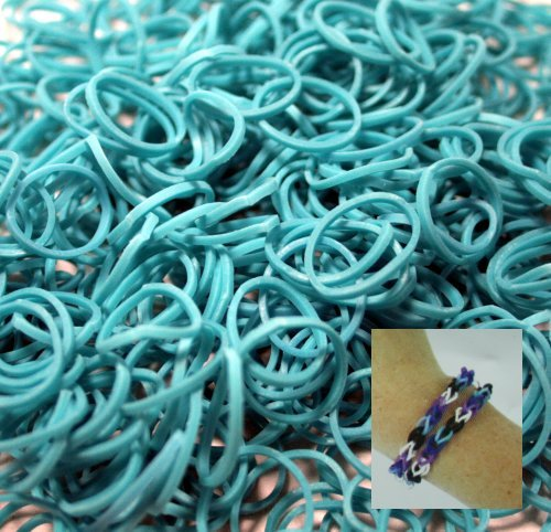 -Piece Teal Rubber Band Kids Craft with Rainbow Do it Yourself Bracelet Kit Refill Pack by Bluedot Trading ()