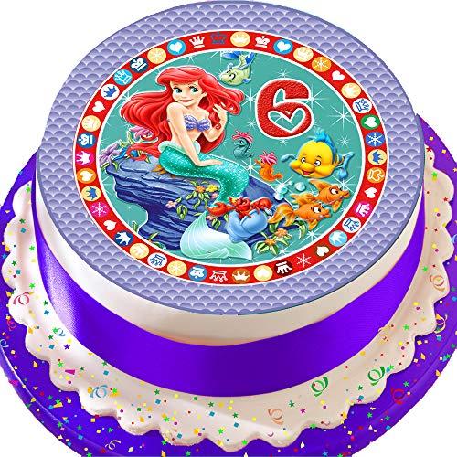 eschnittenen Essbarer Zuckerguss Kuchen Topper-19,1cm rund Alter 6Ariel die kleine Meerjungfrau 6. Geburtstag ()