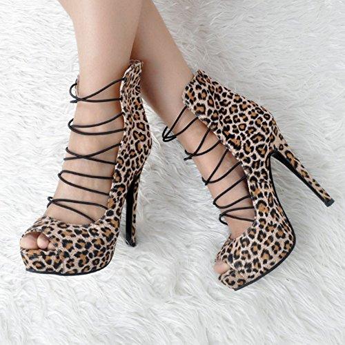 Kolnoo Femmes Handmade 14.5cm Chaussures à talons hauts en Léopard