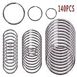 Teabelle 140PCS Key Ring Stainless Steel Strong Solid Split Key Chain, 100PCS 1.2 * 15mm, 30PCS 1.3 * 20mm, 10PCS 1.8 * 30mm