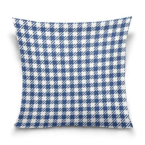 ALAZA Bleu à Carreaux Vichy à Carreaux carré Jetez Coussin de Velours Taie d'oreiller de Coton Housse de 16x16 Pouces