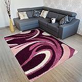 Tapiso Rio Teppich Hochflor Shaggy Modern Designer Violett Lila Langflor mit Wellen Muster Ideal für Wohnzimmer Jugendzimmer Ökotex 120 x 170 cm
