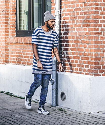 Phoenix Medium Oversize Drop Shoulder T-Shirt Herren Longshirt Blau-Grau