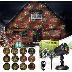 LED Paesaggio Proiettore Luci Natalizie, MicTuning 12 Diverse Diapositive Dostituibile con IR Remote Controller, Stella Rossa e Verde Mostra per Natale, Vacanze, Festa, Casa e Decorazioni da Giardino