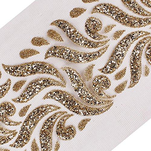 5yards Gold Pailletten Perlen trimmen Bridal Kleid Applikation dekorativen Spitzenbesatz Band Nähen Apparel Zubehör t2553 Teller Gold Trim