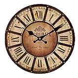 zweibindiger Nadelwald Lautlos Wand Uhr Rustikal Vintage Alle Römische Zahl Design Wanduhren, holz, multi, Diameter16