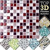4 Stück 25,3 x 25,3 cm rot beige silber Fliesenaufkleber Design 4 I 3D Mosaik Fliesenfolie Küche Bad Aufkleber Grandora W5423