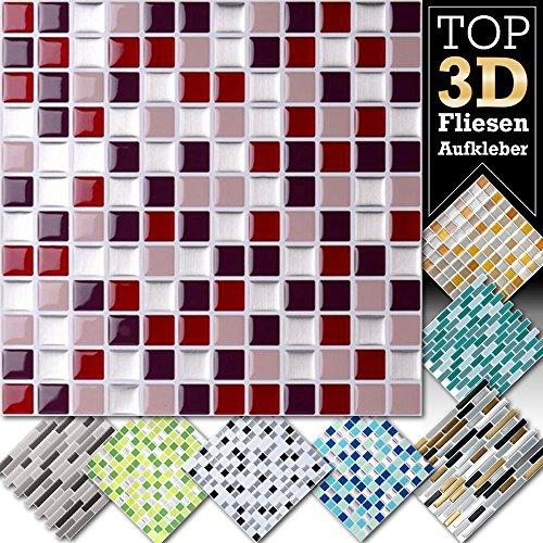 Grandora Fliesenaufkleber 4 Stück 25,3 X 25,3 Cm Rot Beige Silber  Fliesenaufkleber