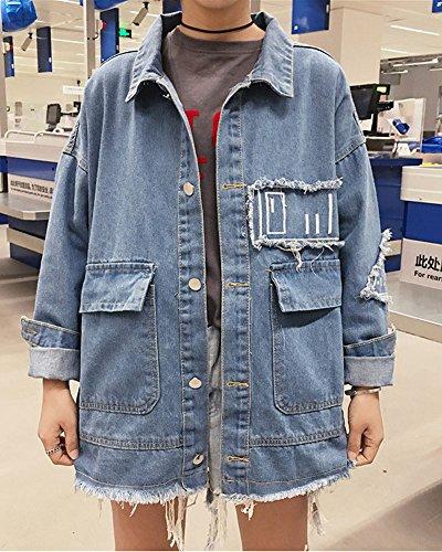 Minetom Donna Ragazze Primavera Autunno Rose Ricamo Denim Giacca Capispalla Outerwear Giubbino Manica Lunga Corto Jeans Jacket E-Blu