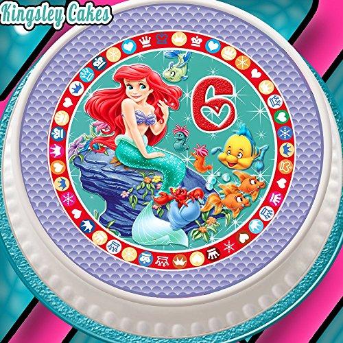 barer Zuckerguss Kuchen Topper–19,1cm rund Alter 6Ariel die kleine Meerjungfrau 6. Geburtstag (Kleine Meerjungfrau-kuchen Topper)